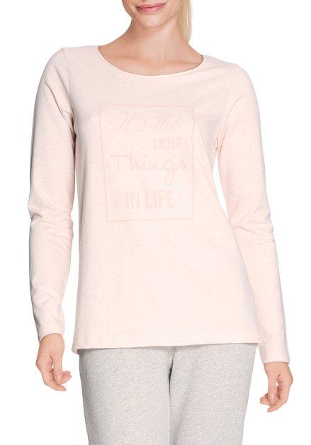 Lichtroze T-shirt met ronde hals