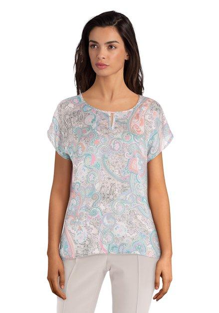 Lichtroze zijdezacht T-shirt met paisleyprint