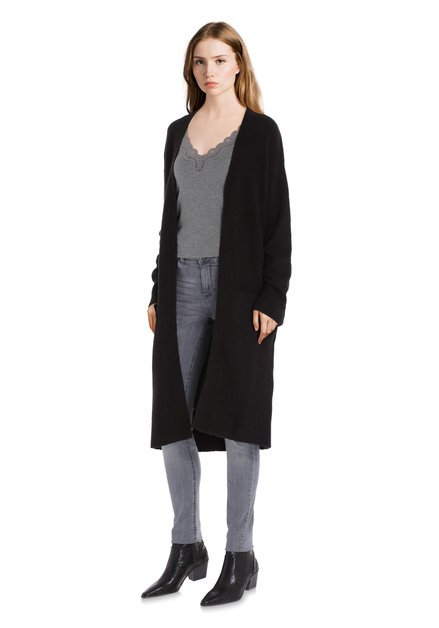 Long cardigan noir