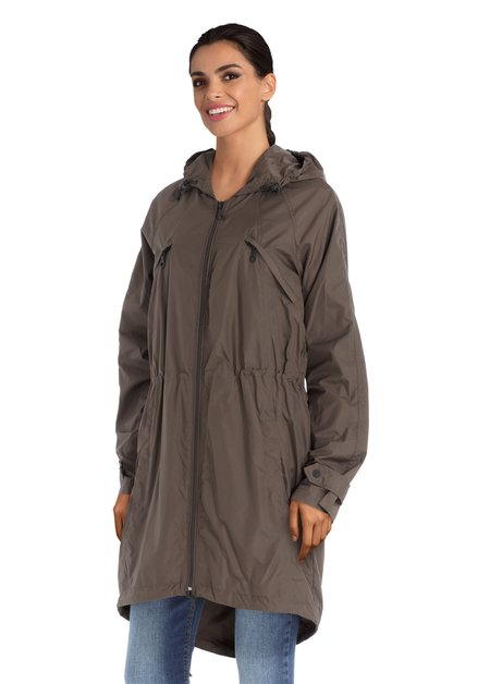 Long imperméable brun