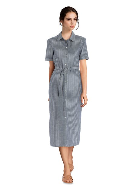 Longue robe chemisier bleue à rayures blanches