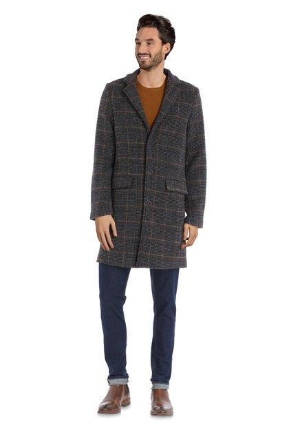 Manteau à carreaux gris foncé