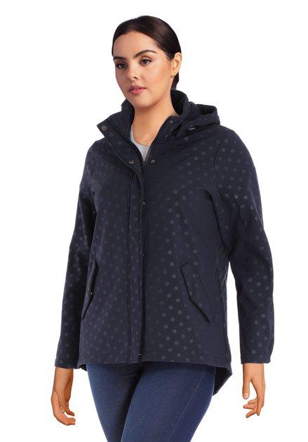 Manteau bleu foncé en softshell à pois