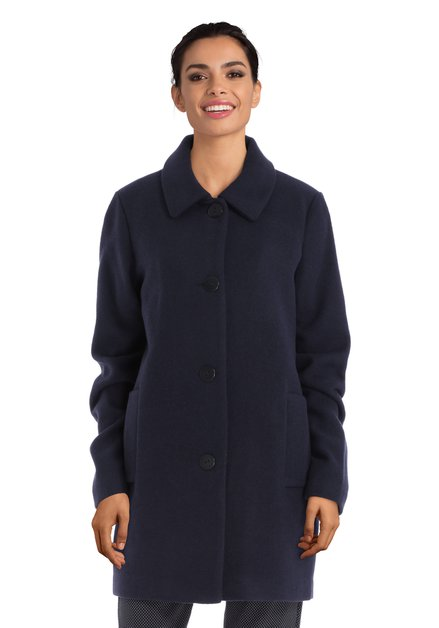 Manteau bleu marine avec revers à col roulé