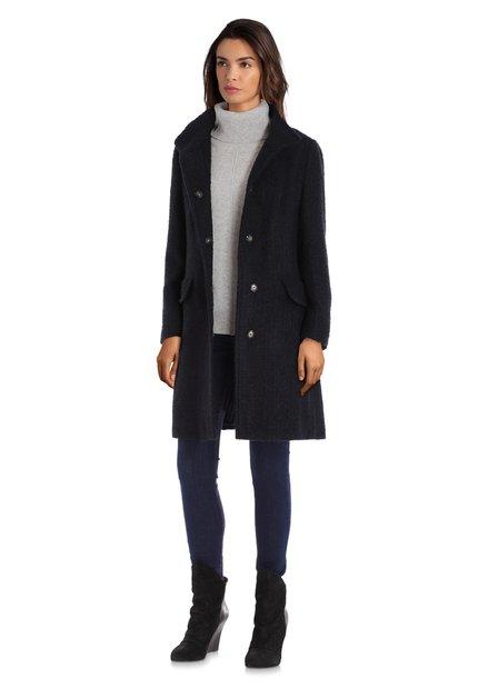 Manteau bleu marine en bouclé et laine