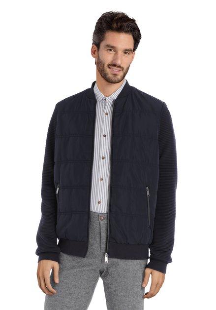 Manteau bleu marine en tissu structuré