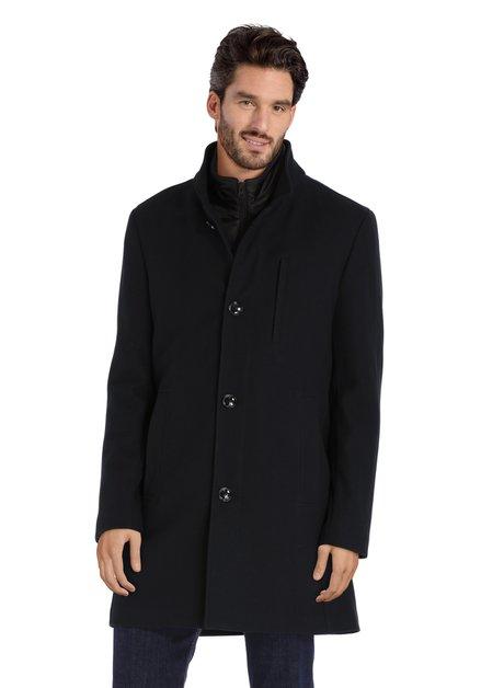 Manteau bleu marine en tissu texturé