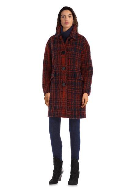 Manteau bleu-orange avec laine