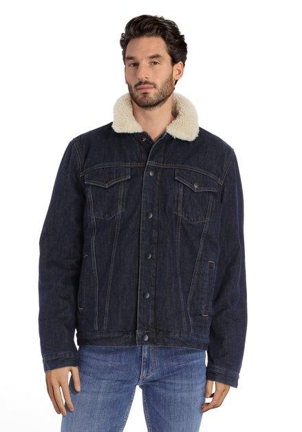 Manteau en jean bleu foncé à doublure écrue