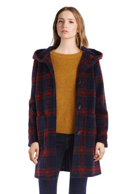 Manteau en laine à carreaux bleu marine
