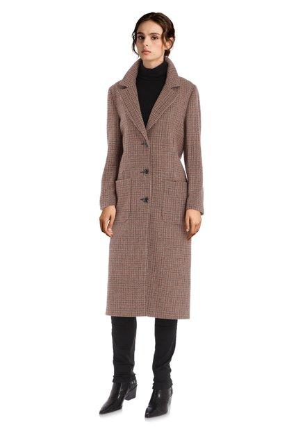 Manteau en laine beige avec imprimé fin
