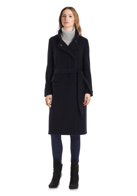 Manteau en laine bleu marine avec nœud
