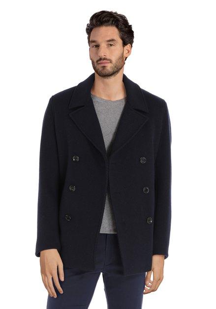Manteau en laine bleu marine en tissu texturé