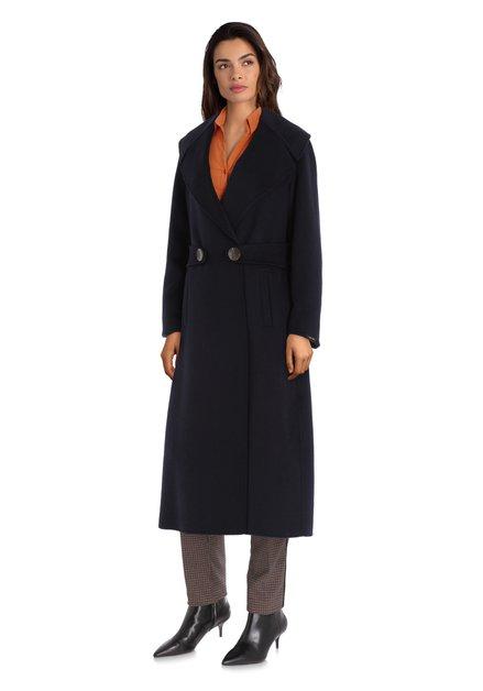 Manteau en laine fait main bleu marine