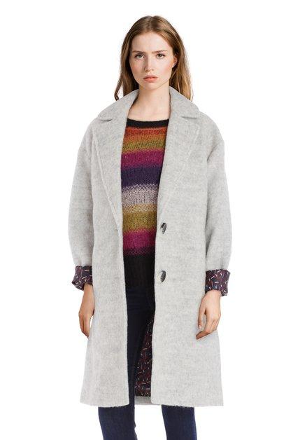 Manteau en laine gris à boutons noirs et blancs