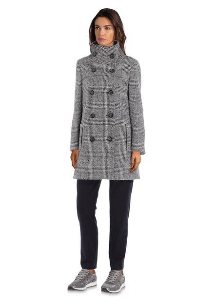 Manteau en laine pied-de-poule noir et blanc