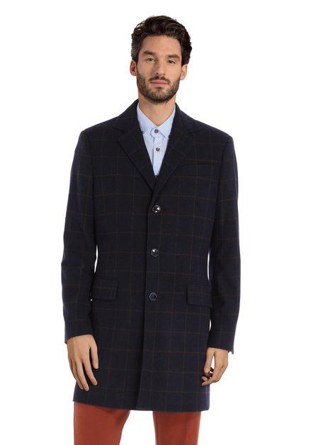 Manteau fait main en laine bleu marine à carreaux