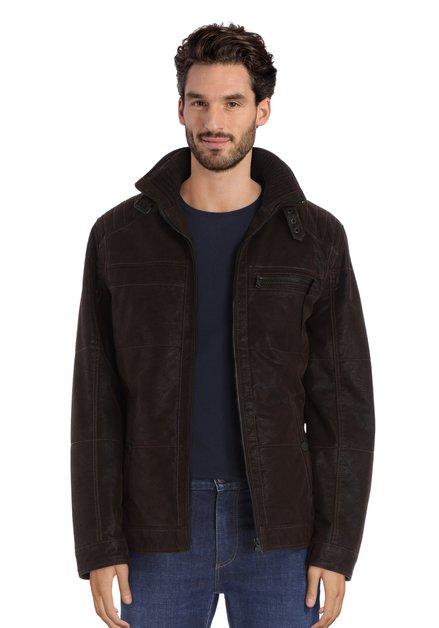 Manteau marron foncé avec col doublé