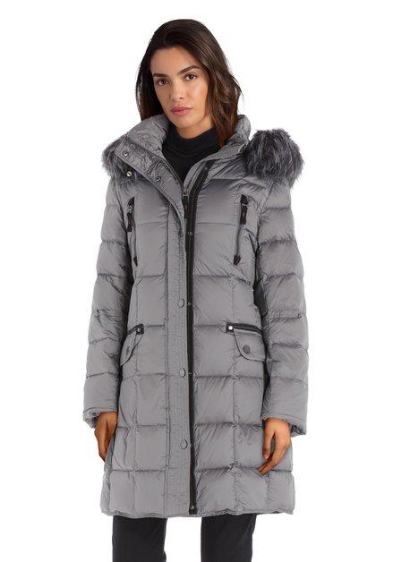 Manteau matelassé argenté avec capuche détachable