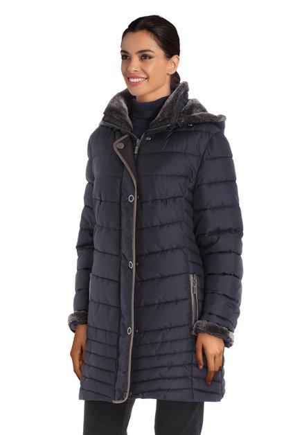Manteau matelassé bleu à capuche détachable