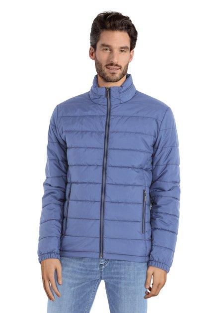 Manteau matelassé bleu à mini-imprimé