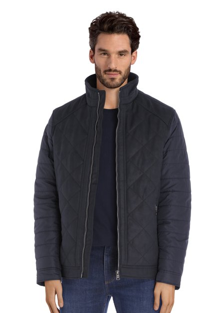Manteau matelassé bleu foncé avec faux-daim