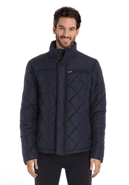 Manteau matelassé bleu marine avec tirette