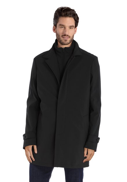 Manteau noir à double tirette