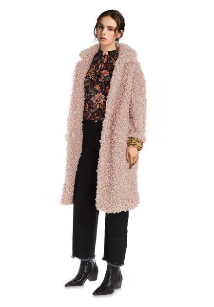 Manteau rose clair en bouclé