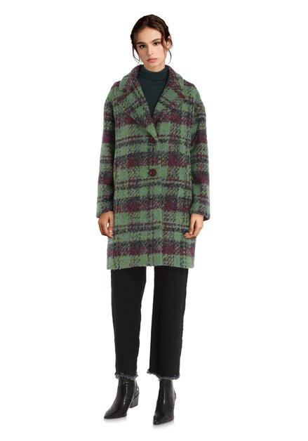 Manteau vert à carreaux oversized