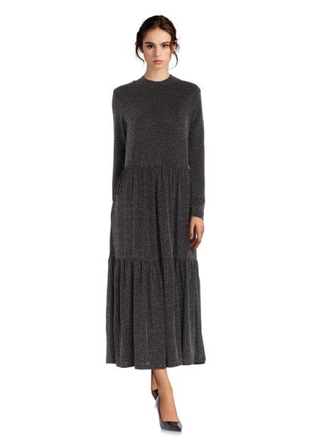 Maxi-robe noire en lurex argenté