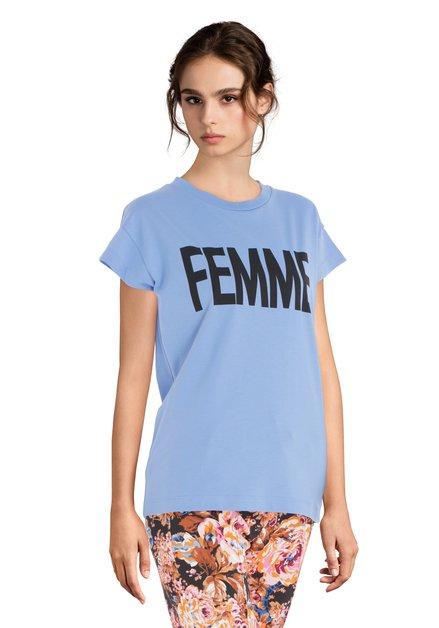Middenblauw 'Femme' T-shirt