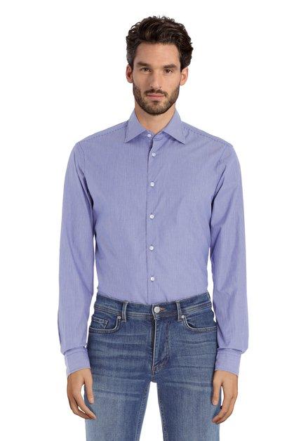 Middenblauw gestreept hemd - slim fit