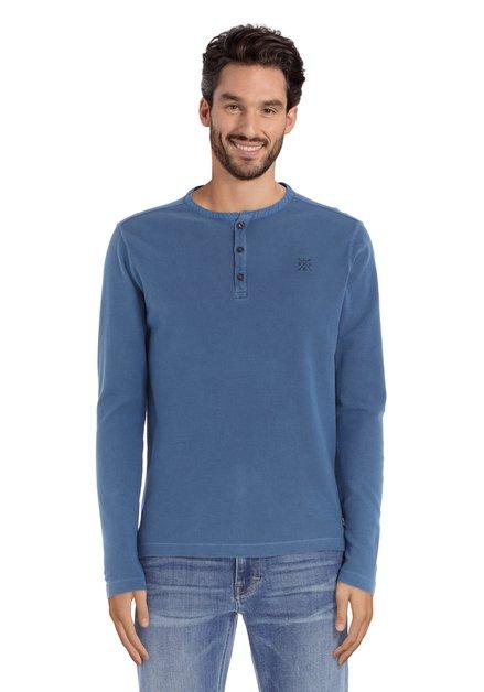 Middenblauw katoenen T-shirt met knopenlijst