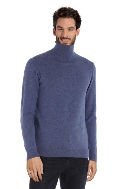 Middenblauwe katoenen trui met rolkraag