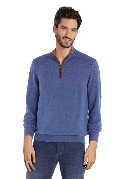 Middenblauwe trui met rits en structuurstof