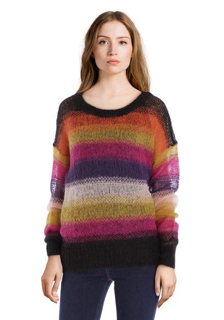 Multicolor gestreepte trui met ronde hals
