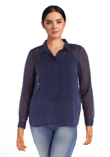 Navy blouse met in structuurstof