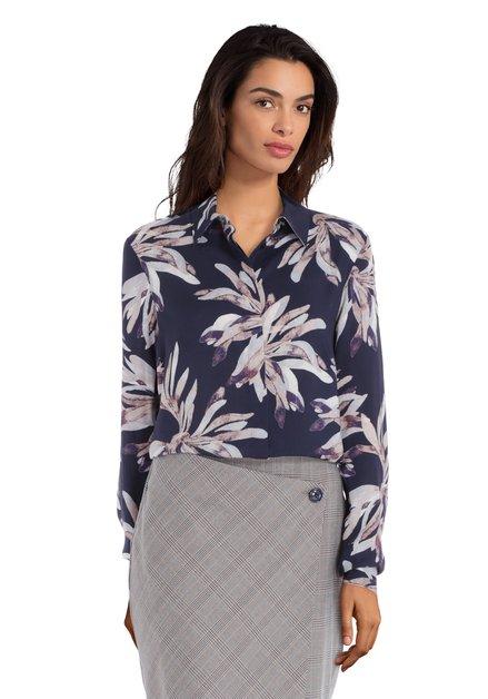 Navy blouse met lichtblauwe bloemen