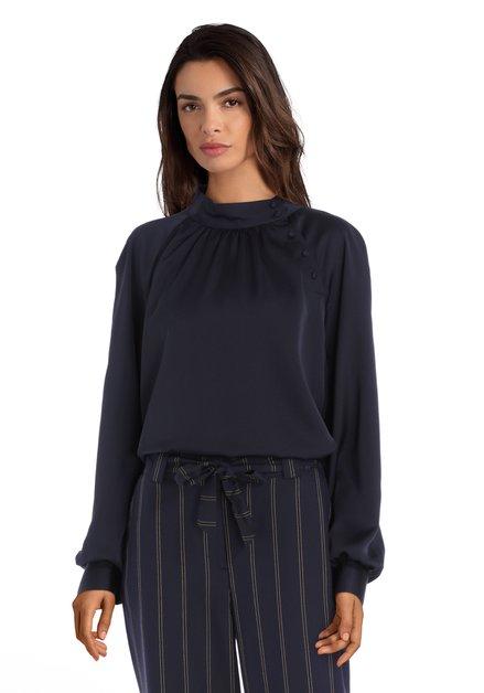 Navy blouse met opstaande kraag en zijdelook