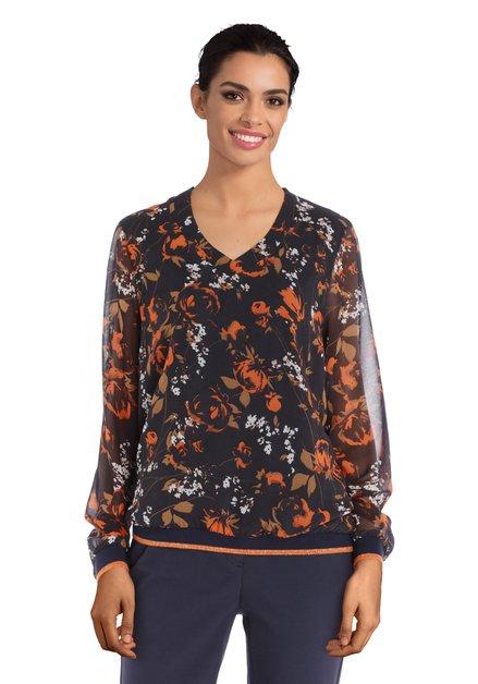 Navy blouse met oranje bloemen en lurex