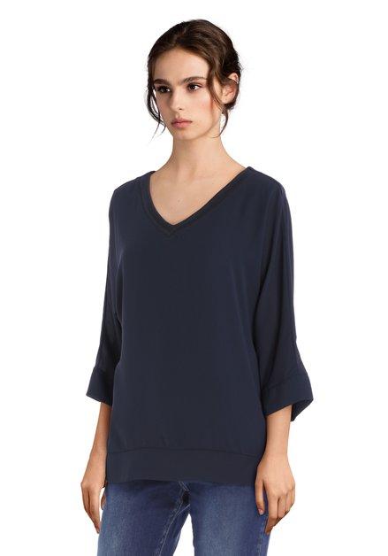 Navy blouse met V-hals in structuurstof
