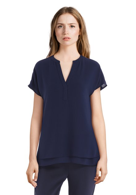 Navy blouse met V-hals