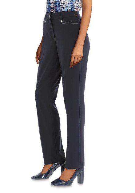Navy broek met biezen en decoratieve stiksels