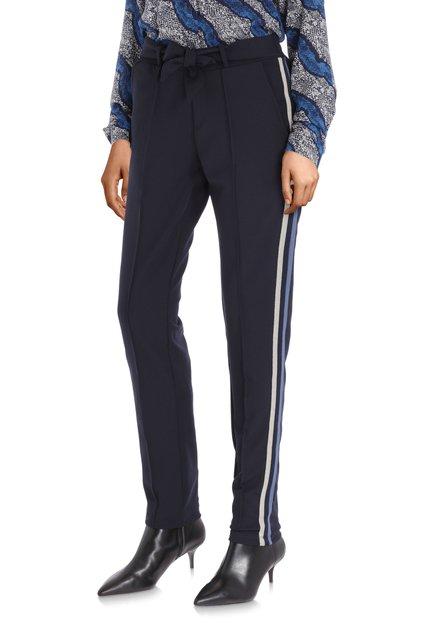 Navy broek met lurex biesje - slim fit