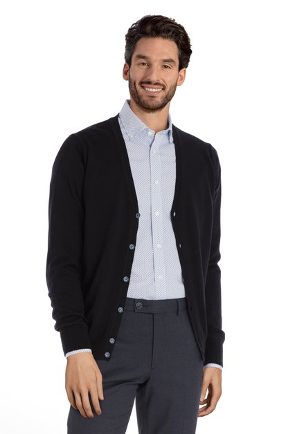 Navy cardigan in merinowol