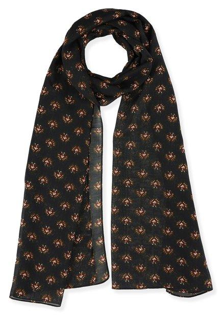 Navy foulard met mosterdgele print