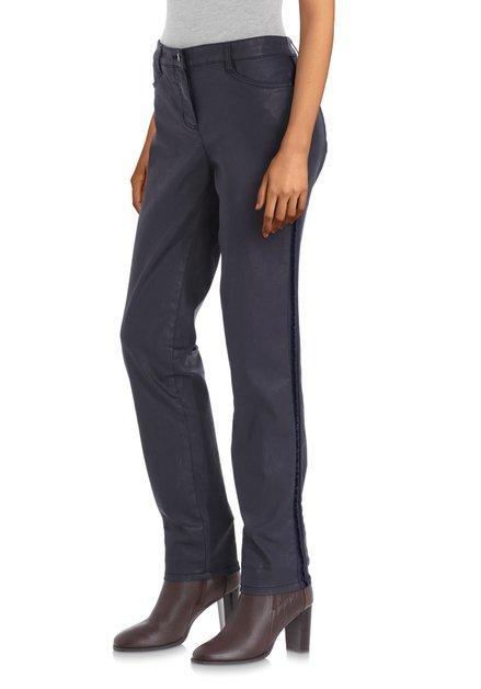 Navy gecoate broek - slim fit
