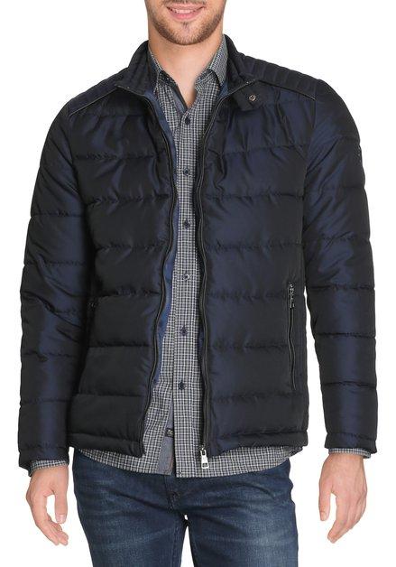 Navy gematelasseerde jas