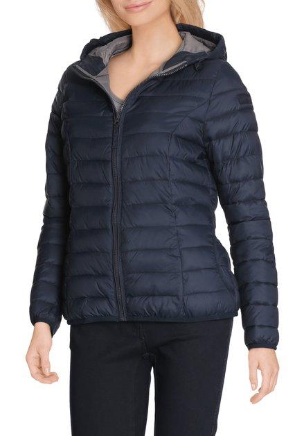 Navy gematelasseerde jas met  kap